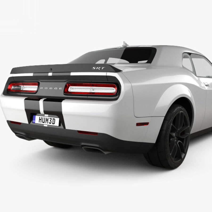 Dodge Challenger SRT Hellcat Wide Body 2018 royalty-free 3d model - Preview no. 7