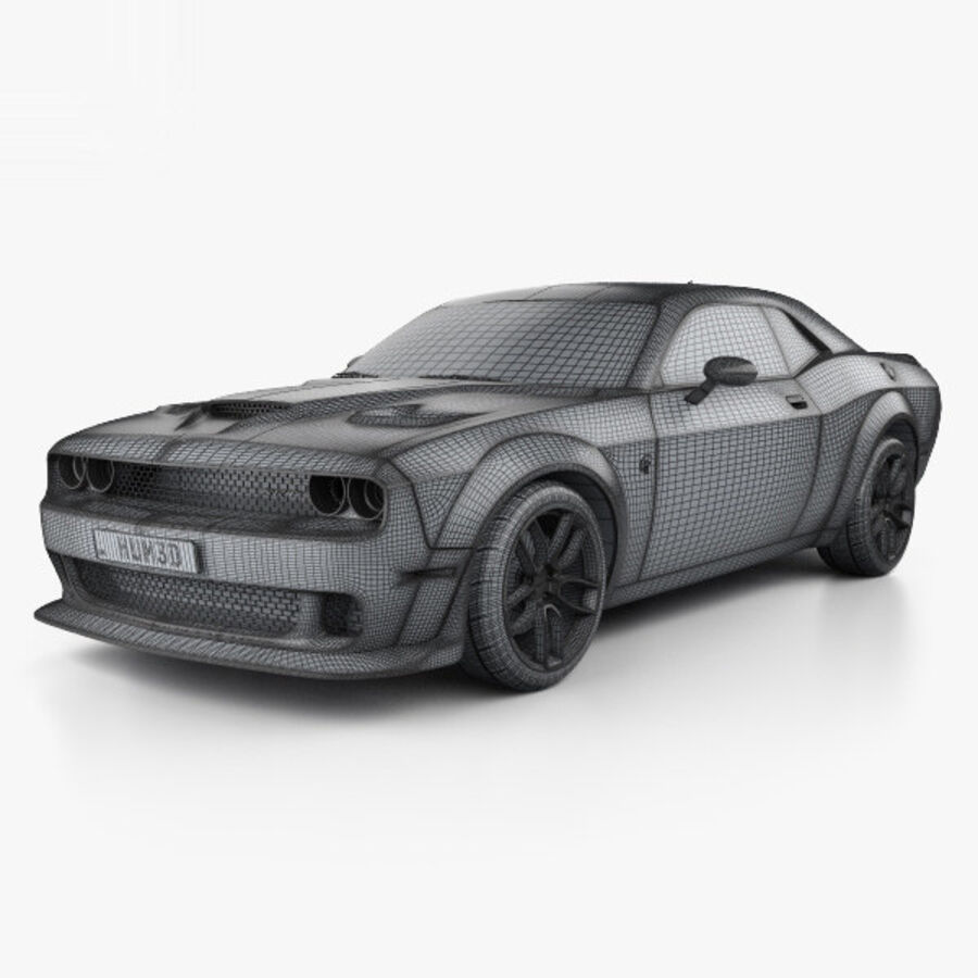 Dodge Challenger SRT Hellcat Wide Body 2018 royalty-free 3d model - Preview no. 3
