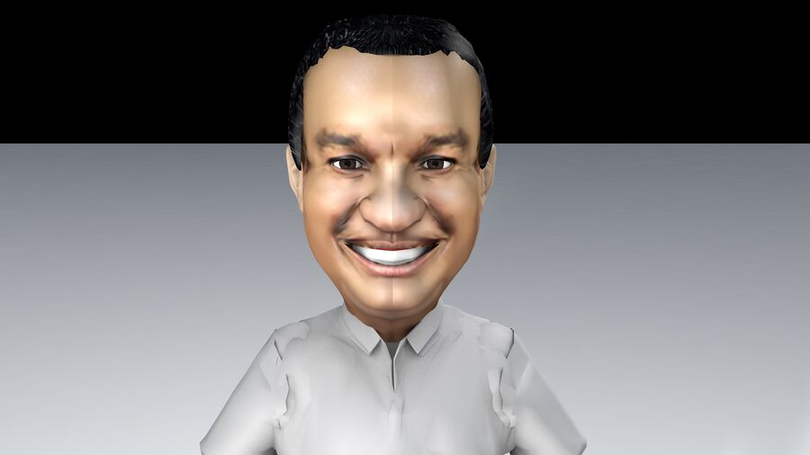Chibi Anies Bas royalty-free 3d model - Preview no. 3