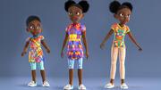 非洲女孩-人造卡通人物 3d model