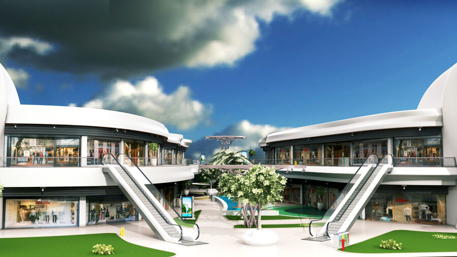 Köpcentrum, parkering och kollektion för offentliga toaletter royalty-free 3d model - Preview no. 7