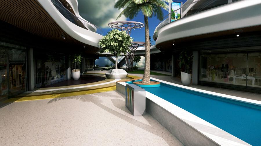Köpcentrum, parkering och kollektion för offentliga toaletter royalty-free 3d model - Preview no. 13