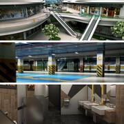 Köpcentrum, parkering och kollektion för offentliga toaletter 3d model