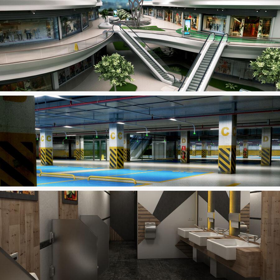 Köpcentrum, parkering och kollektion för offentliga toaletter royalty-free 3d model - Preview no. 1