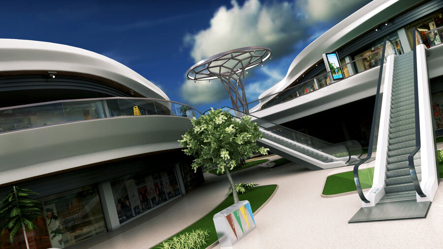 Köpcentrum, parkering och kollektion för offentliga toaletter royalty-free 3d model - Preview no. 11