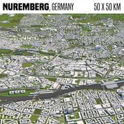 Нюрнберг, Германия 50x50км 3d model