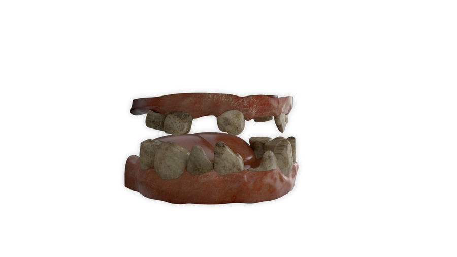 Teeth dirty broken for creature or monster royalty-free 3d model - Preview no. 3