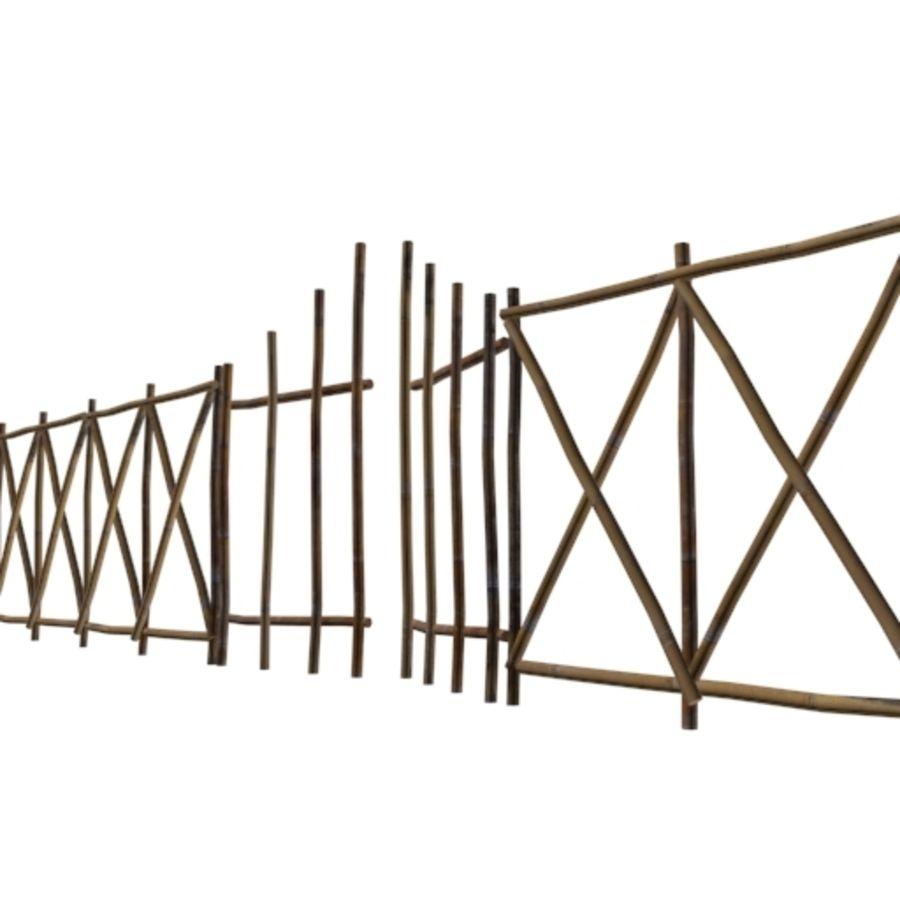 Portão e cerca de bambu royalty-free 3d model - Preview no. 2