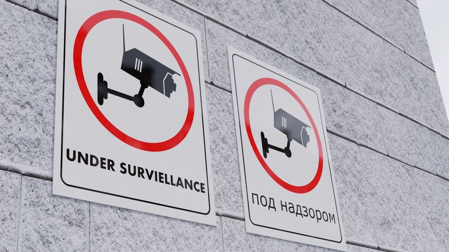 Security Camera Warning royalty-free 3d model - Preview no. 1