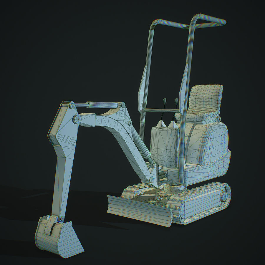 Low Poly Excavator royalty-free 3d model - Preview no. 2
