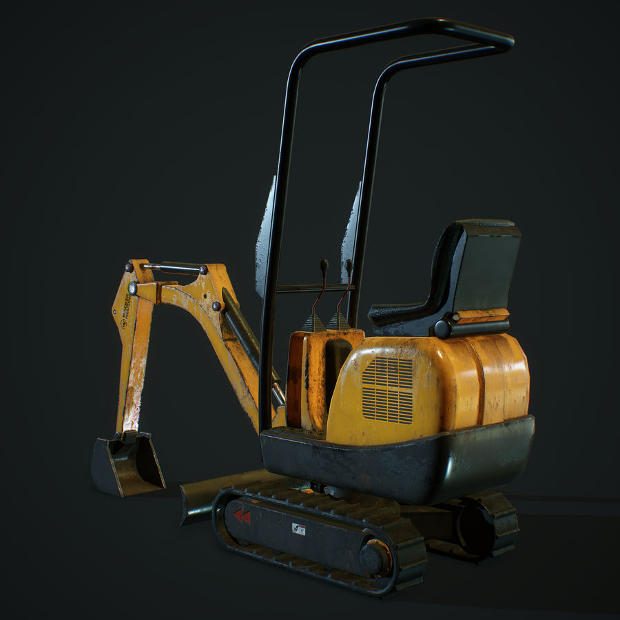 Low Poly Excavator royalty-free 3d model - Preview no. 3