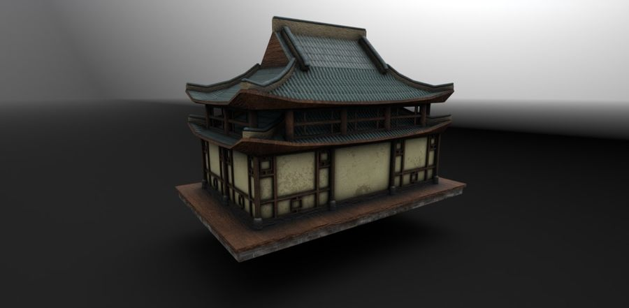Asian House royalty-free 3d model - Preview no. 3