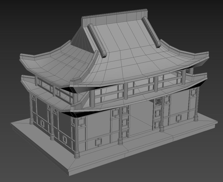 Asian House royalty-free 3d model - Preview no. 5