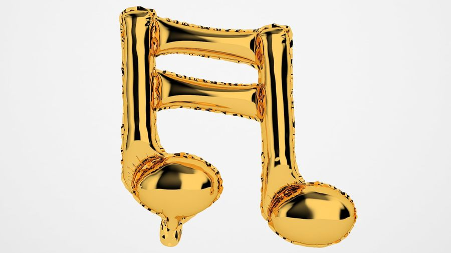 Foil Balloon Note 1 Oro royalty-free modelo 3d - Preview no. 5