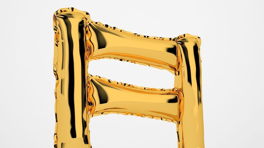 Balon foliowy Uwaga 1 złoty royalty-free 3d model - Preview no. 15