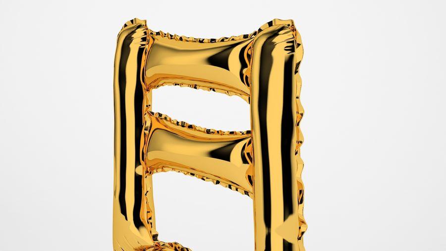 Balon foliowy Uwaga 1 złoty royalty-free 3d model - Preview no. 17