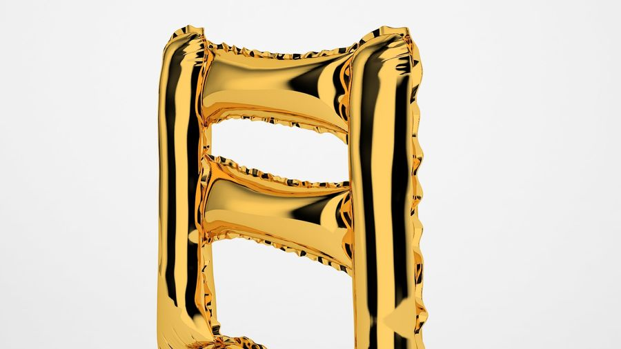 Foil Balloon Note 1 Oro royalty-free modelo 3d - Preview no. 17