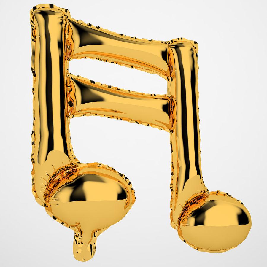 Balon foliowy Uwaga 1 złoty royalty-free 3d model - Preview no. 2