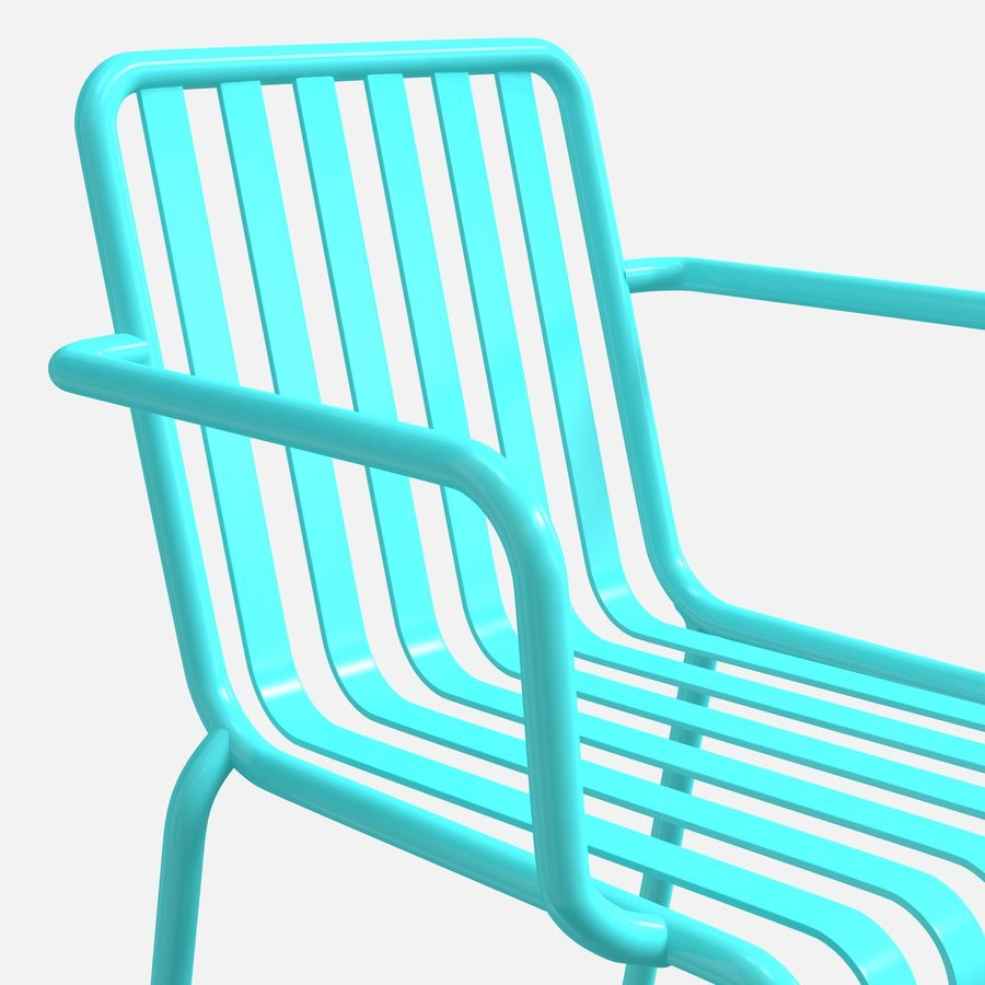 Niebieski metalowy fotel royalty-free 3d model - Preview no. 2