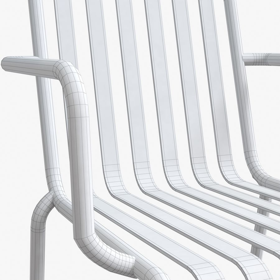 Niebieski metalowy fotel royalty-free 3d model - Preview no. 6