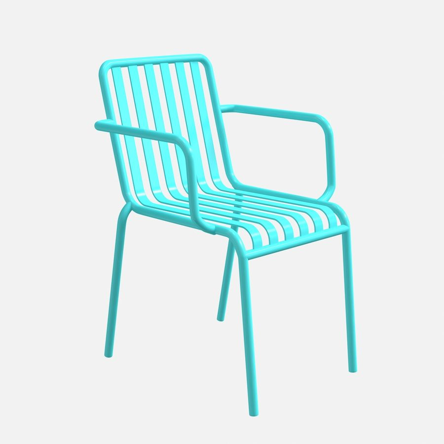 Blue metal armchair royalty-free 3d model - Preview no. 4
