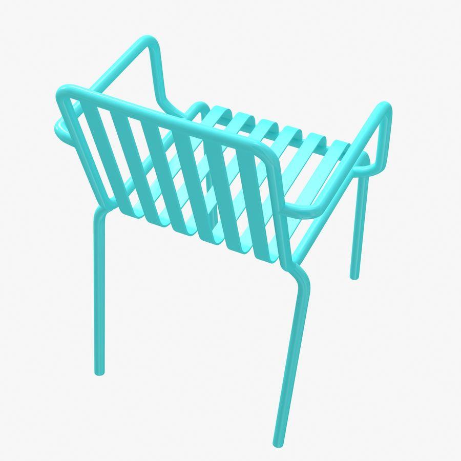 Niebieski metalowy fotel royalty-free 3d model - Preview no. 3