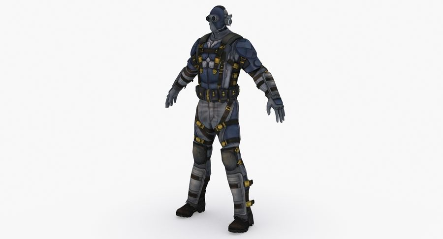 Sci Fi Soldier type 2 royalty-free 3d model - Preview no. 3
