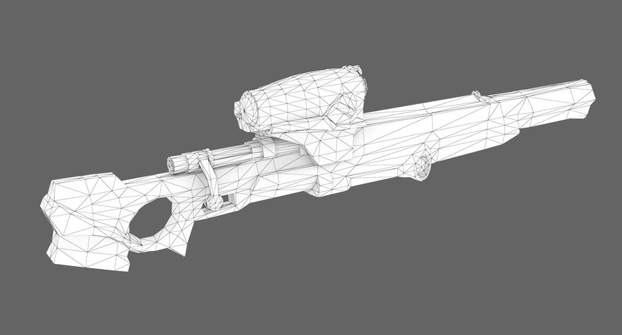 Sci-fi sniper type 1 royalty-free 3d model - Preview no. 9