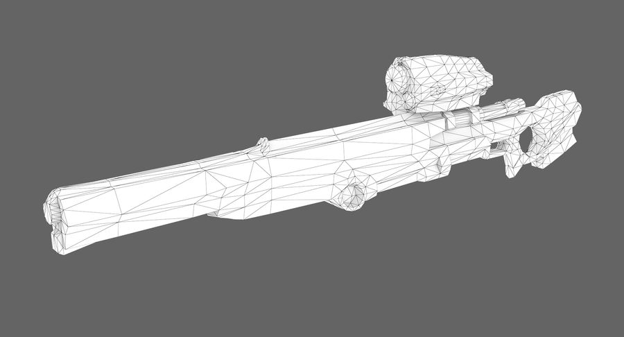 Sci-fi sniper type 1 royalty-free 3d model - Preview no. 7