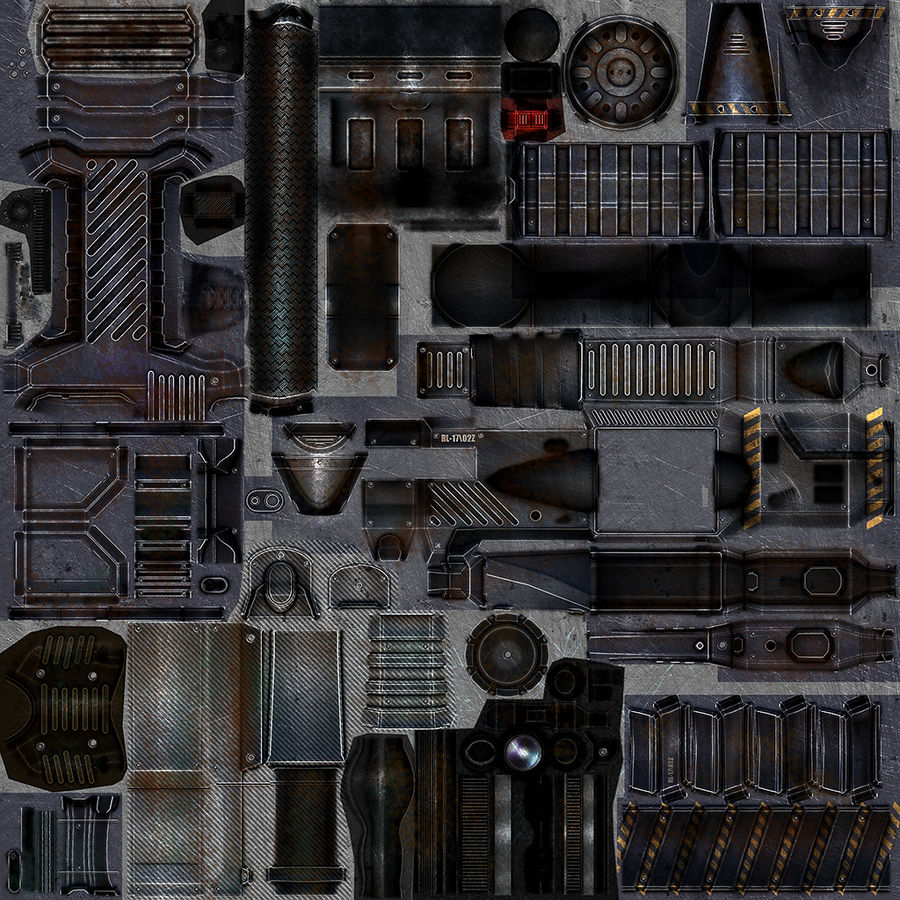 Sci-fi weapon type 4 royalty-free 3d model - Preview no. 12