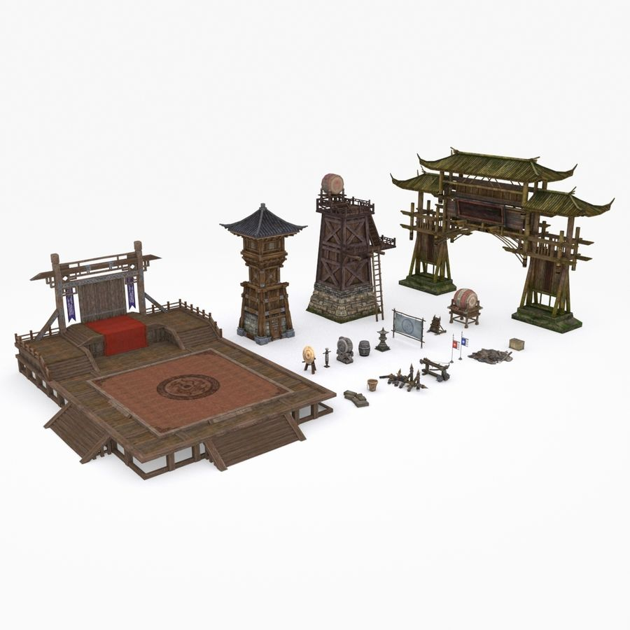 Mittelalterliche Chinakonstruktionen royalty-free 3d model - Preview no. 1