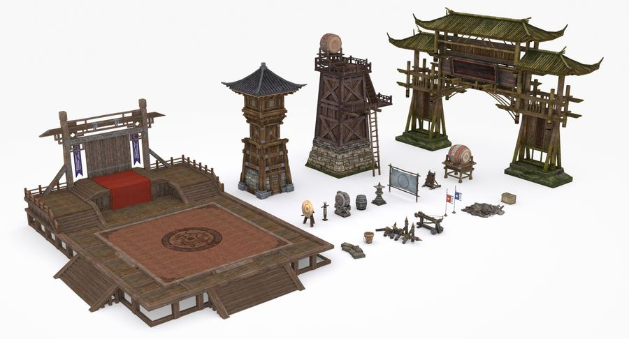 Mittelalterliche Chinakonstruktionen royalty-free 3d model - Preview no. 2