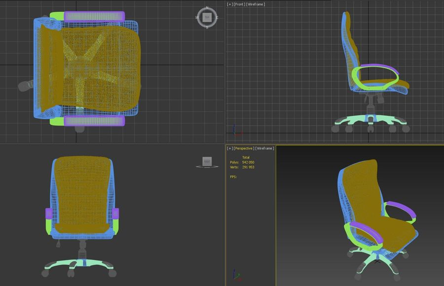 Boss Office Chair royalty-free 3d model - Preview no. 6