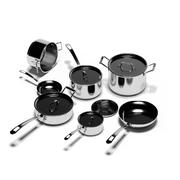 Pfannen Töpfe Küchenset 3d model