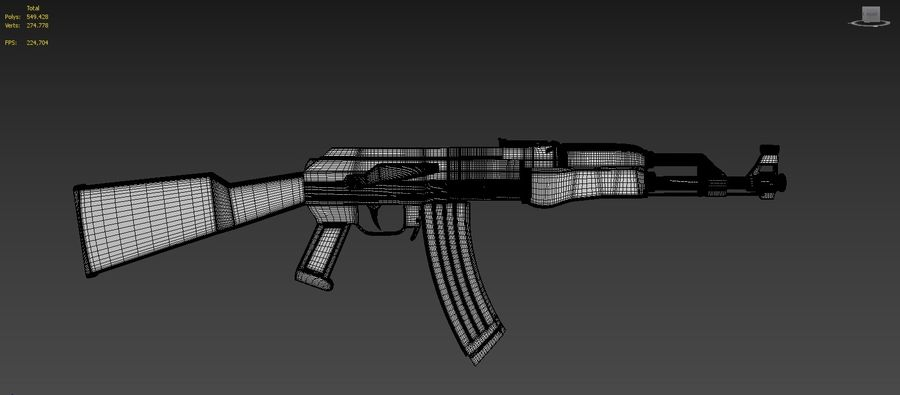 Ak-47 Kalashnikov royalty-free 3d model - Preview no. 9