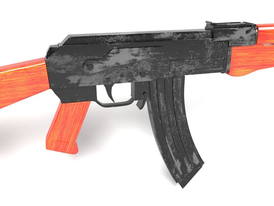 Ak-47 Kalashnikov royalty-free 3d model - Preview no. 2