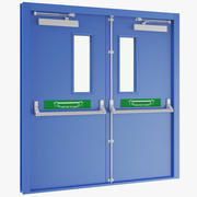 Double Exit Door Blue 3d model