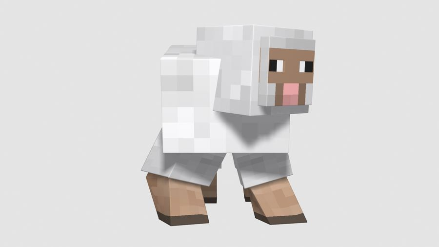 Minecraft schapen opgetuigd royalty-free 3d model - Preview no. 5