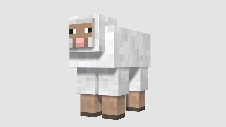 Minecraft schapen opgetuigd royalty-free 3d model - Preview no. 9