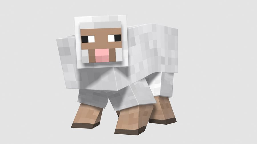 Minecraft schapen opgetuigd royalty-free 3d model - Preview no. 2