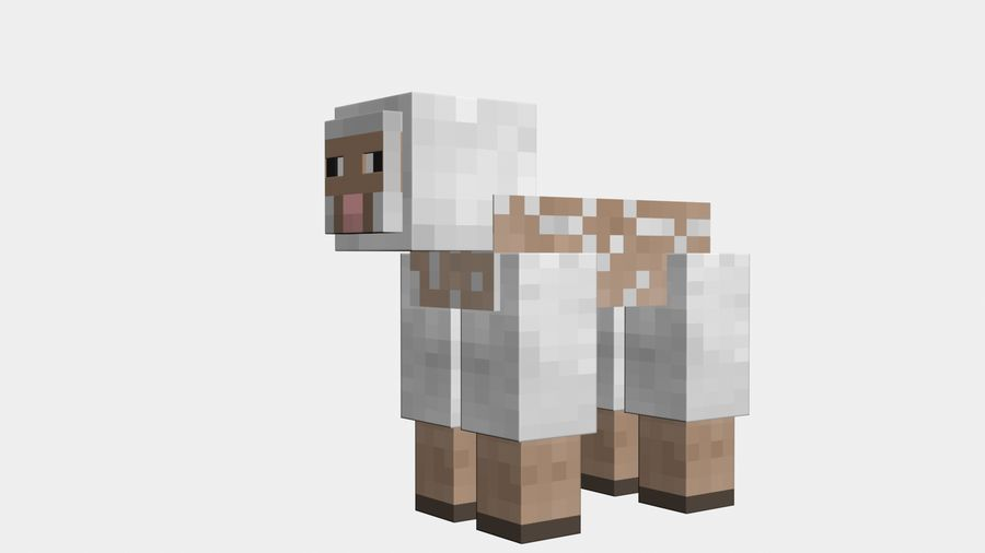 Minecraft schapen opgetuigd royalty-free 3d model - Preview no. 14