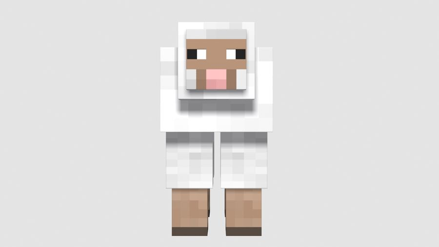 Minecraft schapen opgetuigd royalty-free 3d model - Preview no. 6