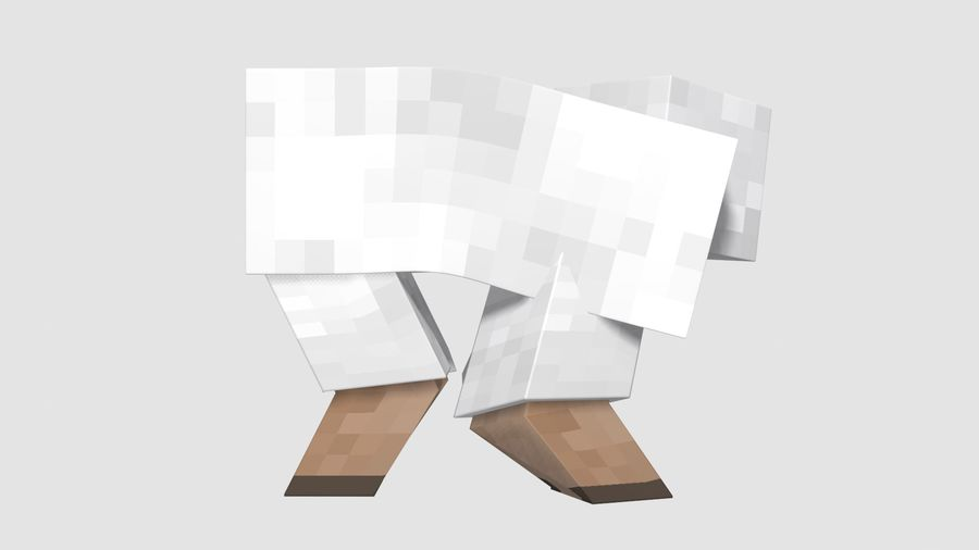 Minecraft schapen opgetuigd royalty-free 3d model - Preview no. 3