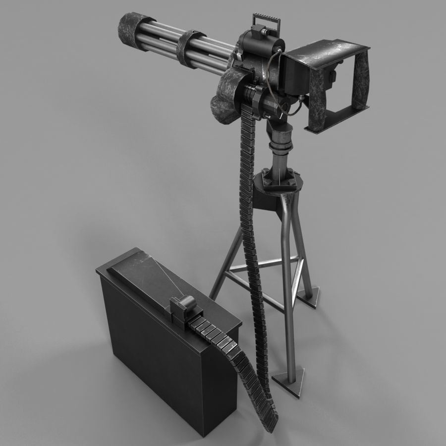 M134 Minigun royalty-free 3d model - Preview no. 3