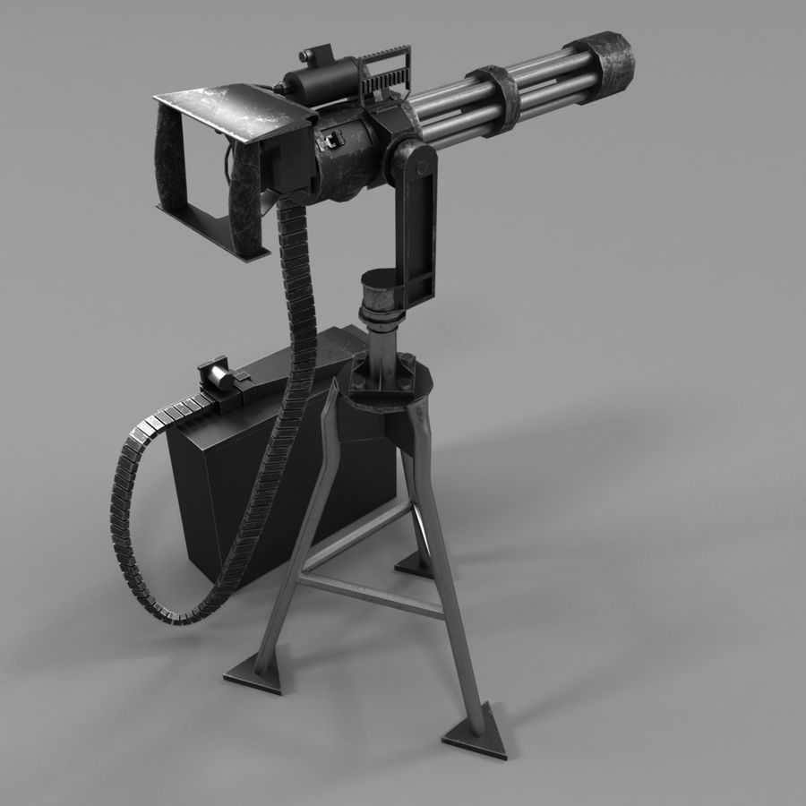 M134 Minigun royalty-free 3d model - Preview no. 5