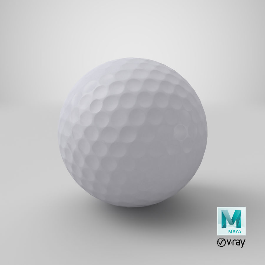 Golfbal laag poly royalty-free 3d model - Preview no. 25