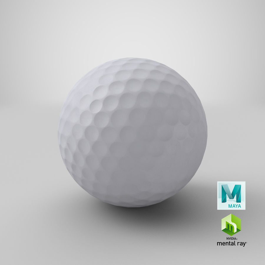 Golfbal laag poly royalty-free 3d model - Preview no. 24