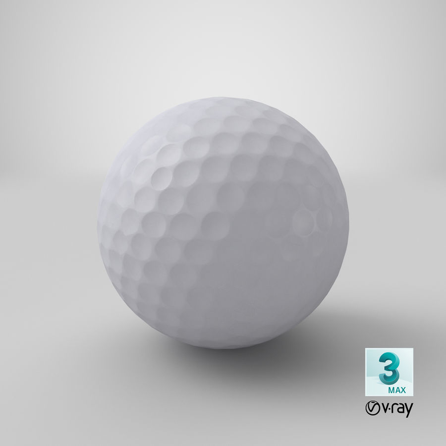 Golfbal laag poly royalty-free 3d model - Preview no. 22
