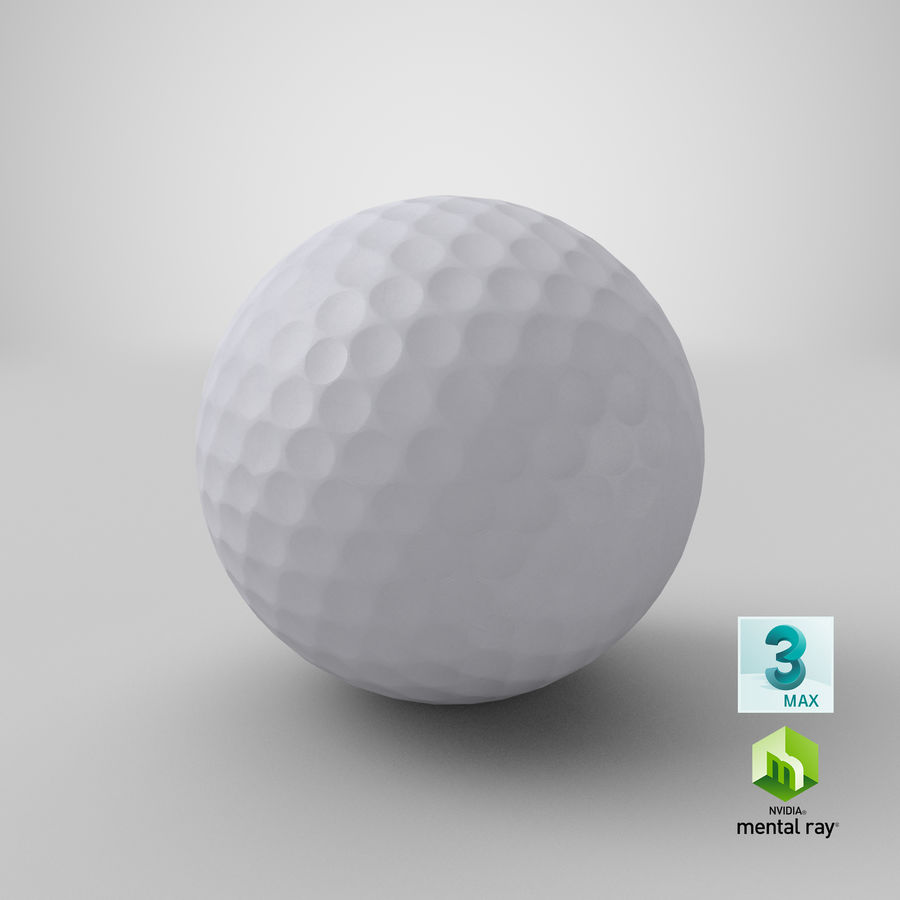 Golfbal laag poly royalty-free 3d model - Preview no. 21