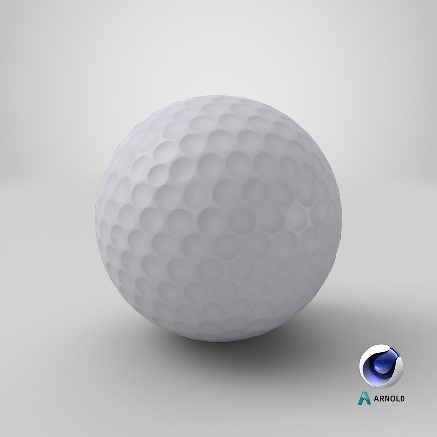Golfbal laag poly royalty-free 3d model - Preview no. 17
